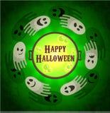 Cartão do vetor de Dia das Bruxas Fantasmas que voam em torno do caldeirão Fotografia de Stock Royalty Free