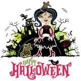 Cartão do vetor de Dia das Bruxas Menina no traje do vampiro Série das crianças ilustração do vetor
