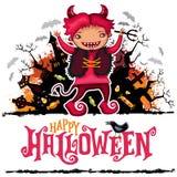Cartão do vetor de Dia das Bruxas Menino no traje do diabo Série das crianças ilustração royalty free