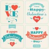 Cartão do vetor do dia do Valentim feliz Foto de Stock