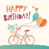 Cartão do vetor do feliz aniversario com uma bicicleta ilustração royalty free
