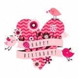 Cartão do vetor do feliz aniversario em cores cor-de-rosa e marrons claras e escuras com pássaros, flores, fita e coração Fotografia de Stock