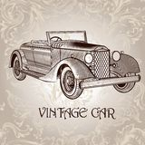 Cartão do vetor do vintage com carro retro Foto de Stock Royalty Free