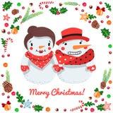 Cartão do vetor dos pares dos bonecos de neve dos desenhos animados do Feliz Natal ilustração royalty free