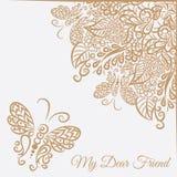 Cartão do vetor Fundo branco e ornamento marrom Imagens de Stock
