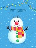 Cartão do vetor do Natal com boneco de neve bonito e luzes elétricas ilustração do vetor