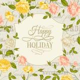 Cartão do vintage com as rosas no feriado Imagens de Stock Royalty Free