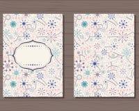 Cartão do vintage com flocos de neve ilustração royalty free