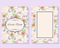 Cartão do vintage com flores ilustração do vetor