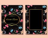 Cartão do vintage com flores ilustração stock