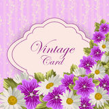 Cartão do vintage com flores Fotografia de Stock Royalty Free