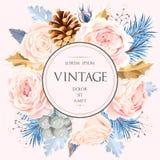Cartão do vintage com flores ilustração royalty free