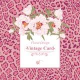 Cartão do vintage com flores de florescência ilustração stock