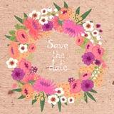 Cartão do vintage com grinalda floral. Salvar a data. Fotos de Stock Royalty Free