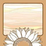 Cartão do vintage com o girassol bege para seu projeto Fotos de Stock Royalty Free
