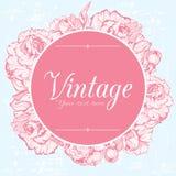 Cartão do vintage com peônias ilustração stock