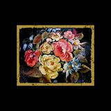 Cartão do vintage - com quadro retro e flores Fotografia de Stock Royalty Free