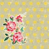 Cartão do vintage - com quadro retro e flores - com Foto de Stock