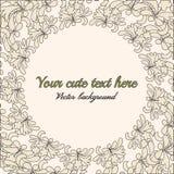 cartão do vintage com teste padrão floral branco Fotografia de Stock