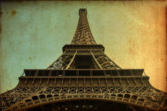 Cartão do vintage da torre Eiffel Fotografia de Stock