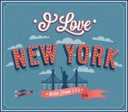 Cartão do vintage de New York - EUA. Fotos de Stock Royalty Free