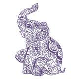 Cartão do vintage do convite com elefante ilustração stock