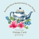 Cartão do vintage do convite com os mirtilos, cor-de-rosa ilustração do vetor