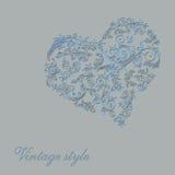 Cartão do vintage do dia de Valentim com coração e flores Fotografia de Stock