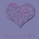 Cartão do vintage do dia de Valentim com coração e flores Imagens de Stock Royalty Free