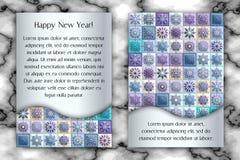 Cartão do vintage do Natal e do ano novo Fundo do floco de neve do mosaico da telha Ilustração do vetor Imagens de Stock