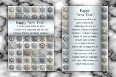 Cartão do vintage do Natal e do ano novo Fundo do floco de neve do mosaico da telha Ilustração do vetor Foto de Stock Royalty Free