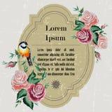 Cartão do vintage - flores e pássaros Imagens de Stock