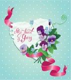Cartão do vintage, flores, fita e paz de papel velha Imagem de Stock Royalty Free