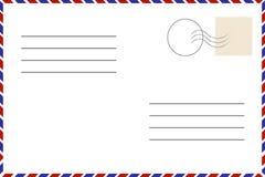 Cartão do vintage Molde velho Envelope retro do correio aéreo com selo ilustração stock