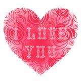 Cartão do vintage para o dia de Valentim com corações. Fotos de Stock