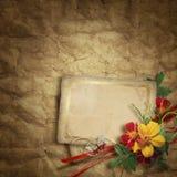 Cartão do vintage para o feriado com flor Imagem de Stock Royalty Free