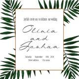 Cartão do vintage do vetor Convite do casamento Ilustração botânica ilustração do vetor