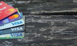 Cartão do cartão visa e o mestre foto de stock royalty free