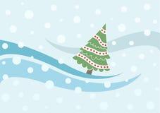 Cartão do Xmas com árvore e queda de neve do xmas Fotografia de Stock