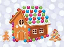 cartão do xmas com as cookies coloridas do pão-de-espécie ilustração stock