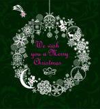 Cartão do Xmas com estrela do Natal e a grinalda de suspensão do ofício com as bolas cortadas de papel com rena, árvore do xmas,  ilustração royalty free