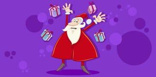 Cartão do Xmas com Santa feliz ilustração do vetor