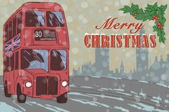 Cartão do Xmas de Londres com um ônibus vermelho ilustração stock