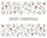 Cartão dos ícones do Feliz Natal ilustração do vetor