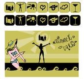 Cartão dos ícones do verão Fotografia de Stock