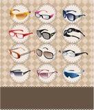 Cartão dos óculos de sol/vidros dos desenhos animados Fotos de Stock