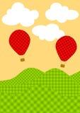 Cartão dos balões de ar quente da manta ilustração do vetor