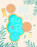 Cartão dos cartazes do convite da festa na piscina do verão Vetor Foto de Stock Royalty Free