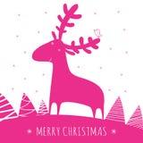 Cartão dos christmass do cumprimento com cervos Imagens de Stock