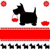 Cartão dos corações do amor do cão Fotografia de Stock Royalty Free